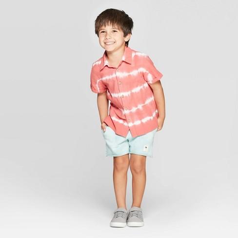 9c18a6bf8 Toddler Boys' Tie Dye Button-Down T-Shirt - art class™ Red. Shop all Art  Class