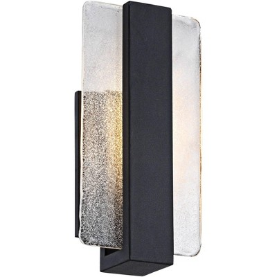 "Possini Euro Design Modern Wall Light Sconce LED Black Hardwired 11 3/4"" High Fixture Piastra Glass for Bedroom Bathroom Hallway"