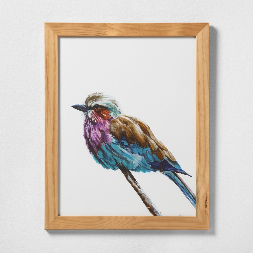 "Image of ""16"""" X 20"""" Colorful Bird Wall Art with Natural Wood Frame - Hearth & Hand with Magnolia"""