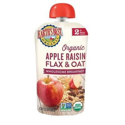 Earth's Best Organic Apple Raisin Flax & Oat Baby Food Pouch - 4oz