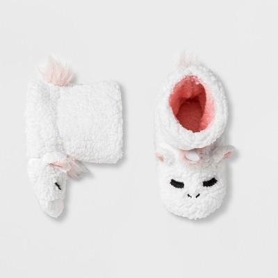 Girls' Unicorn Bootie Slippers - Cat & Jack™ White M (2-3)