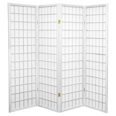 5 ft. Tall Window Pane Shoji Screen - White (4 Panels)