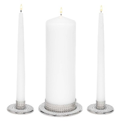 Vintage Pearl Wedding Collection Unity Candle Set Stand