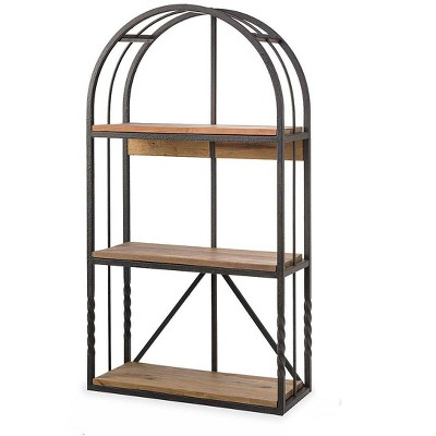 Plow & Hearth - Deep Creek Wood and Metal Arched Wall Shelf with Rustic Reclaimed Pine Shelves