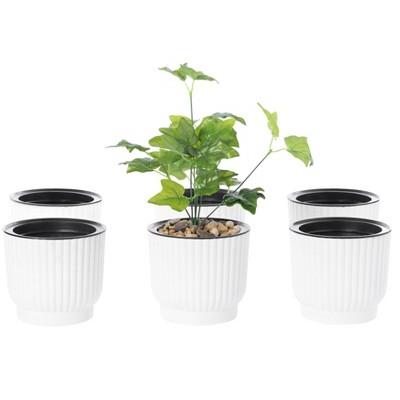 Gardenised White Flower Pot Self Watering Planter, 6 Pack