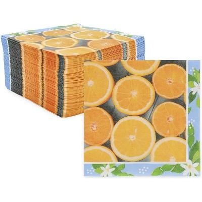 "Sparkle and Bash 150 Pack Orange Citrus Fruit Disposable Paper Napkins 6.5"" for Summer Party Decorations"