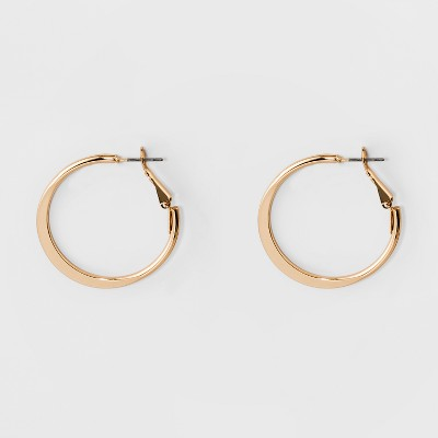 Medium Flat Hoop Earrings - A New Day™ Gold
