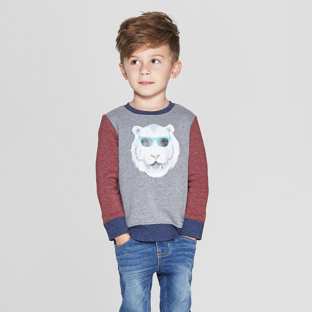 Toddler Boys' Fleece Crew Tiger Graphic Sweatshirt - Cat & Jack Gray 4T, Black