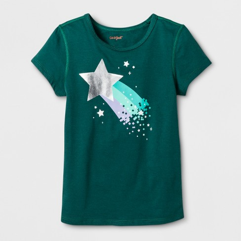 06ca9f3f3 Toddler Girls' Adaptive Short Sleeve Shooting Star Graphic T-Shirt - Cat &  Jack - Green