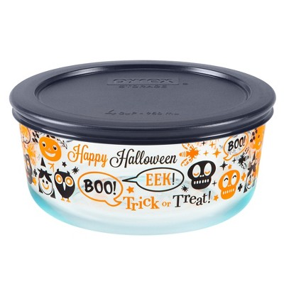 Pyrex 4 Cup Glass Halloween Food Storage Container