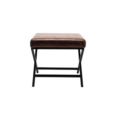 "20"" Square Metal X Base Ottoman - WOVENBYRD"