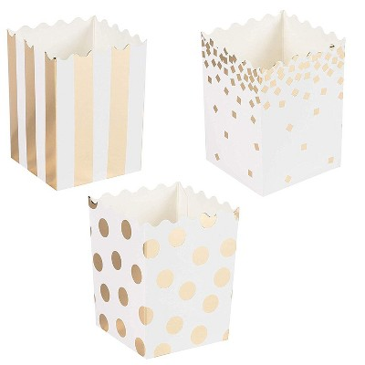 """60-Pack Mini Popcorn Boxes - 16oz Small Paper Popcorn and Candy Favor Boxes, Gold Foil Polka Dots, Stripes, Confetti Designs, Baby Shower, 3x4x2.8"""""""