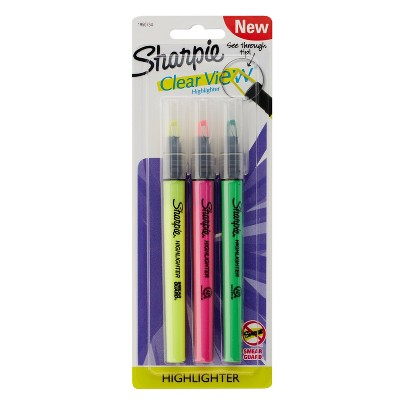 3pk Highlighters Clearview Fine Chisel Tip Multicolor - Sharpie