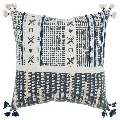 "20""x20"" Irregular Geometric Striped Polyester Filled Pillow Navy - Donny Osmond Home"