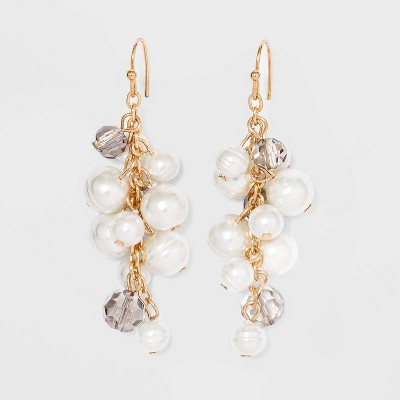 Pearl Crystal Cluster Dangle Earrings - A New Day™ Gold