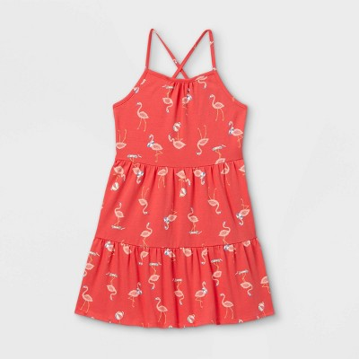 Girls' Printed Tiered Knit Sleeveless Dress - Cat & Jack™ Coral