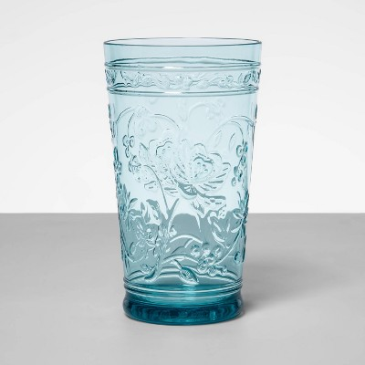 22oz Plastic Floral Embossed Tall Tumbler Blue - Opalhouse™