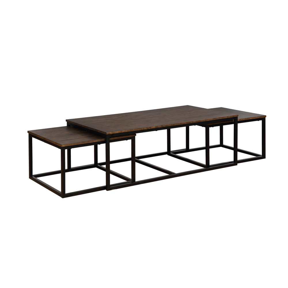54 Arcadia Acacia Wood Coffee Table With Nesting Tables Antiqued Mocha - Alaterre Furniture