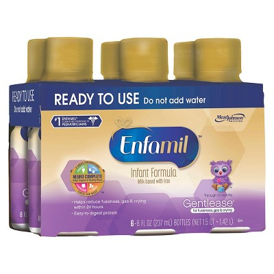 Enfamil Gentlease Ready to Use Bottle 8oz - 6ct