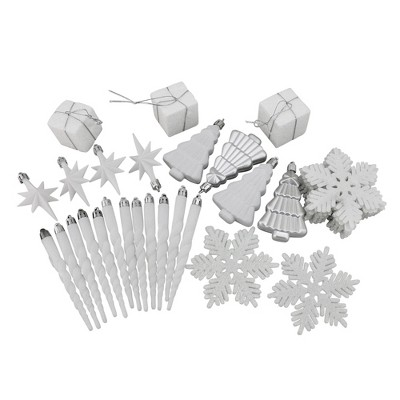 "Northlight 125ct Shatterproof 4-Finish Christmas Ornament Set 5.5"" - White/Silver"