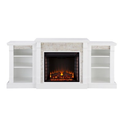 Aiden Lane Gilman Simulated Stone Electric Indoor Fireplace With Bookcases