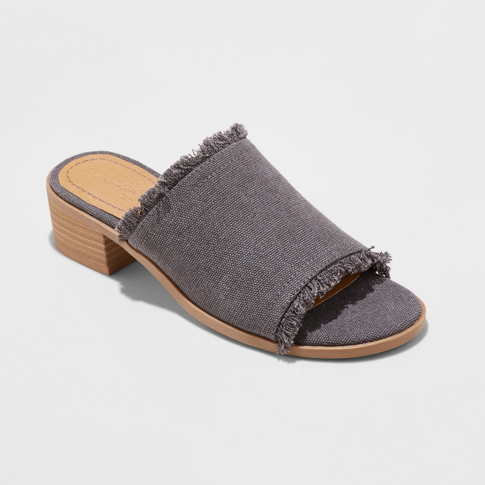 Women's Dion Raw Edge Ankle Strap Sandals - Universal Thread Gray 5.5