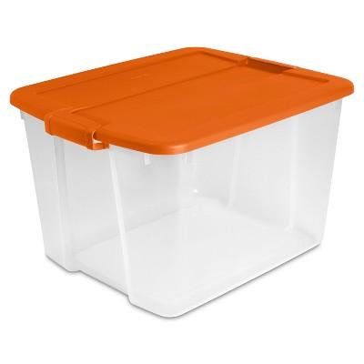 66qt Utility Storage Tubs And Totes Orange Latch - Sterilite