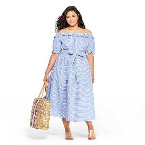 5bac904aa59 Women s Plus Size Striped Off the Shoulder Short Sleeve Bardot Top -  Navy White - vineyard vines® for Target