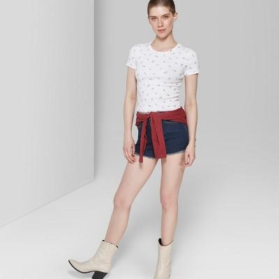 736f5a2243 Women s High-Rise Cutoff Jean Shorts - Wild Fable™ Blue