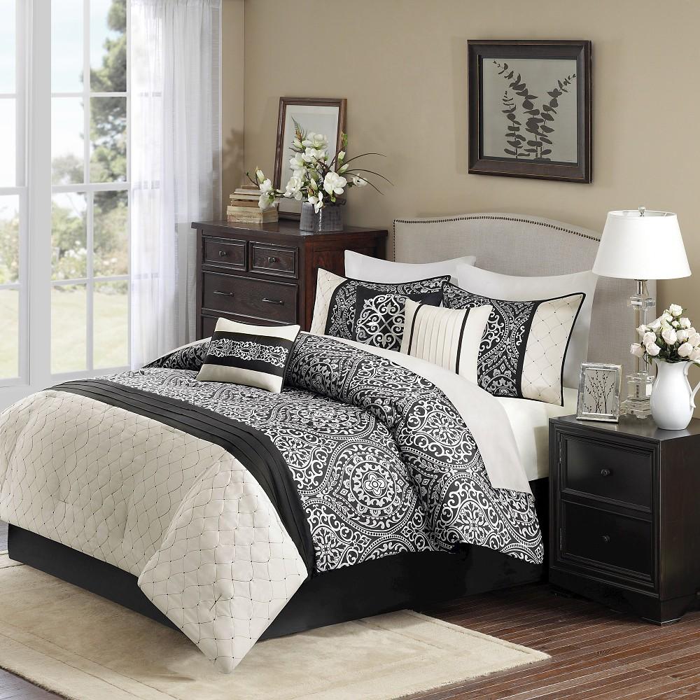 Taft 7 Piece Comforter Set - Black (Queen)