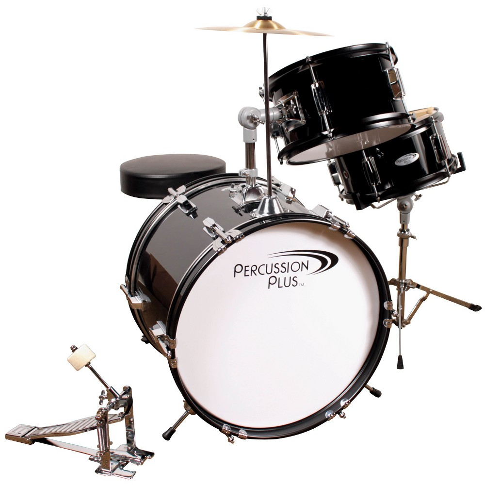 Percussion Plus Drums 3pc Junior Drum Set with Cymbal & Throne - Metallic Black