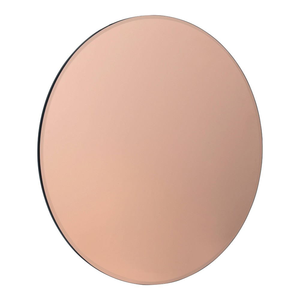 """Image of """"26"""""""" Azalea Tinted Frameless Round Wall Mirror Rose Gold - Kate and Laurel, Pink"""""""