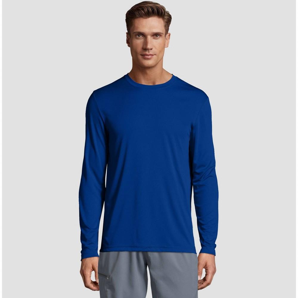 e36f4bcd Hanes Mens Long Sleeve CoolDRI Performance T Shirt Deep Blue M Deep Blue