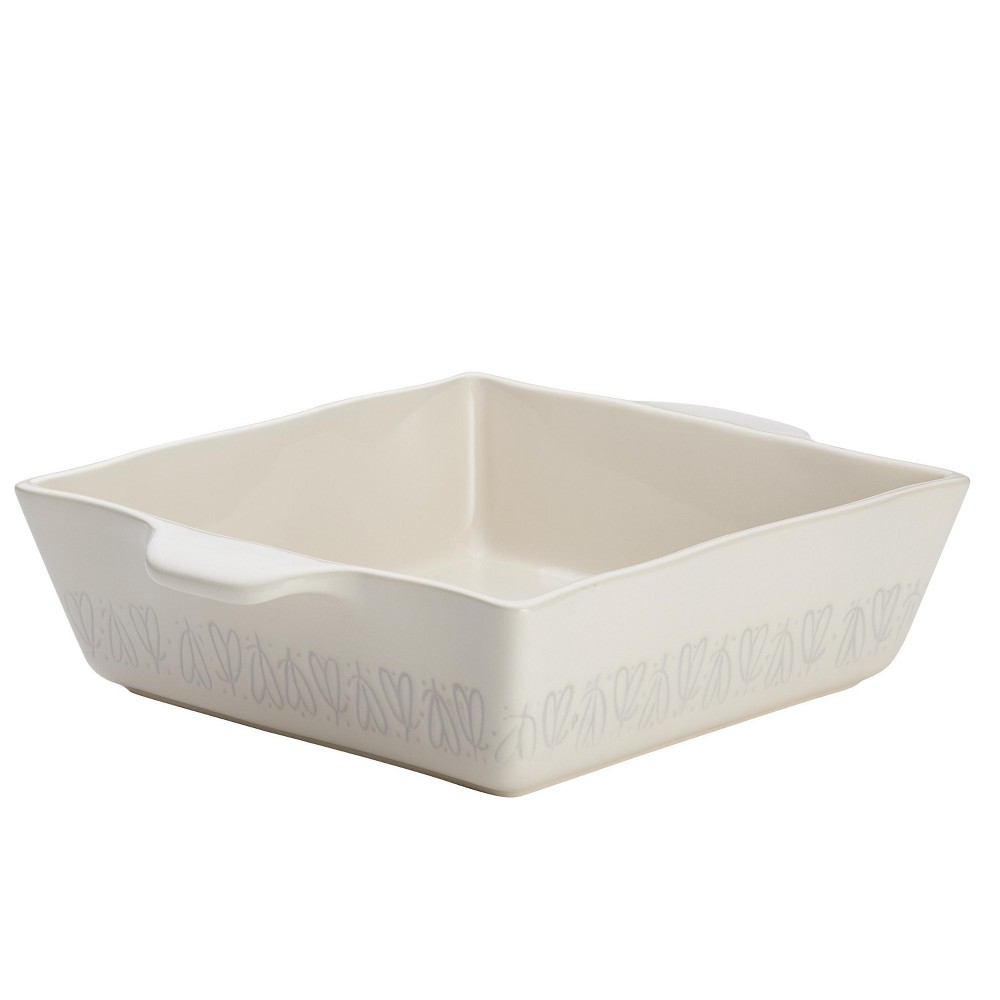 "Image of ""Ayesha Curry 8"""" x 8"""" Home Collection Stoneware Square Baker French Vanilla, Beige"""