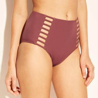 Women's Sun Coast Cheeky Strappy High Waist Bikini Bottom - Shade & Shore™ Dusty Rose Pink S