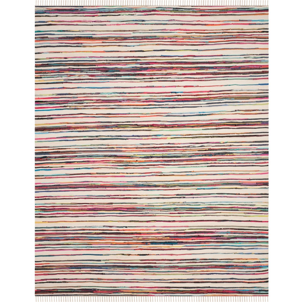 Stripe Woven Area Rug Ivory/Pink