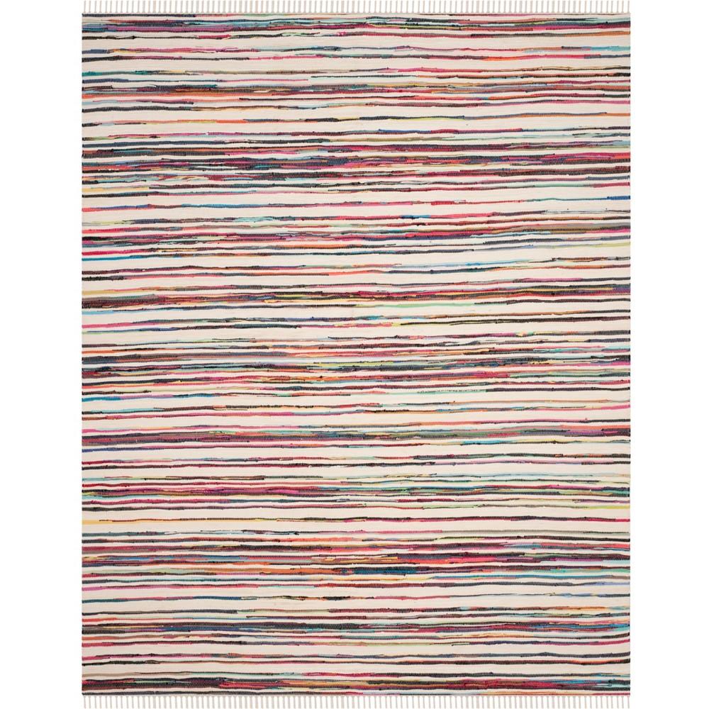 10'X14' Stripe Woven Area Rug Ivory - Safavieh, Ivory/Multi-Colored