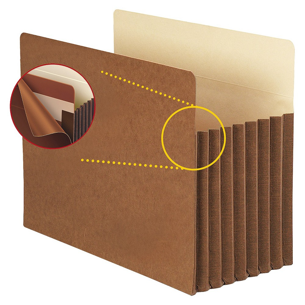 Smead 7 Accordion Expansion File Folders Pocket with Tyvek, Straight, Ltr, Manila/Redrope, 5/Box, Brown