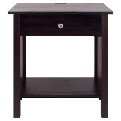 Nightstand with Usb Port- Espresso - Flora Home