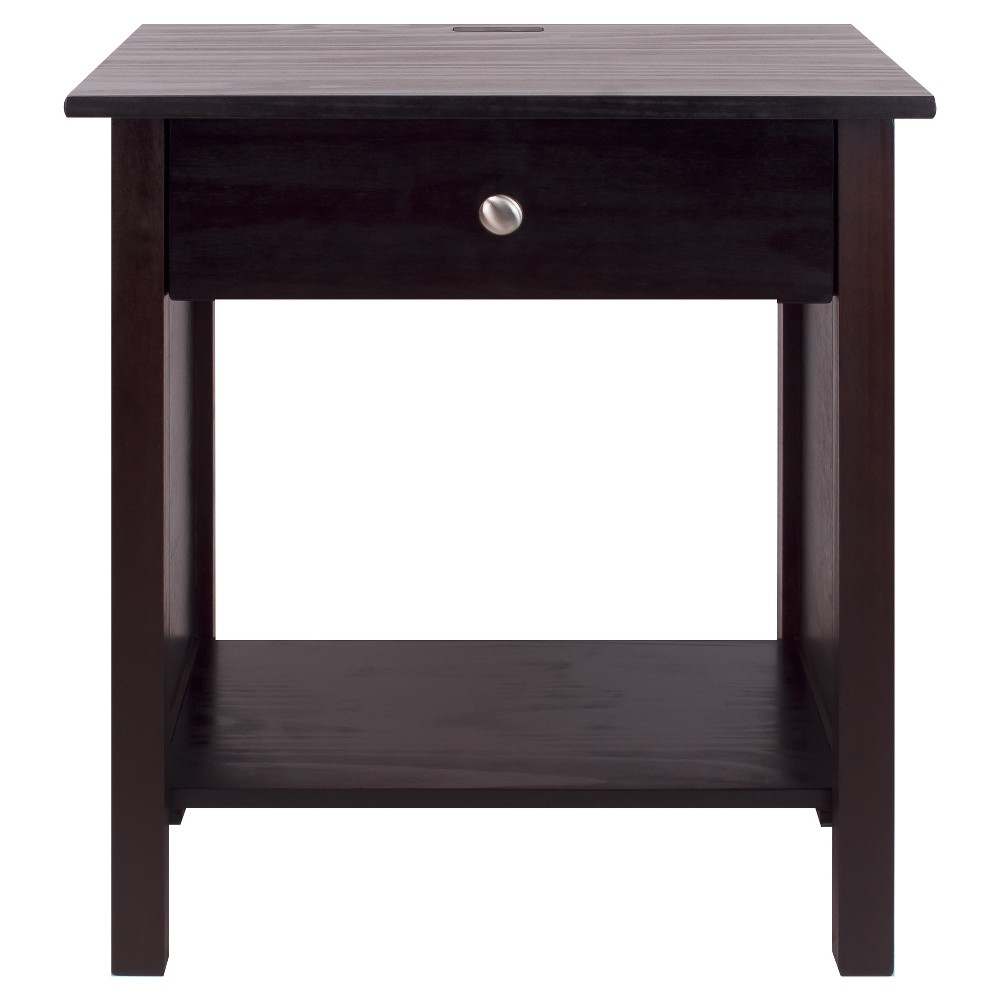 Nightstand with Usb Port- Espresso (Brown) - Flora Home