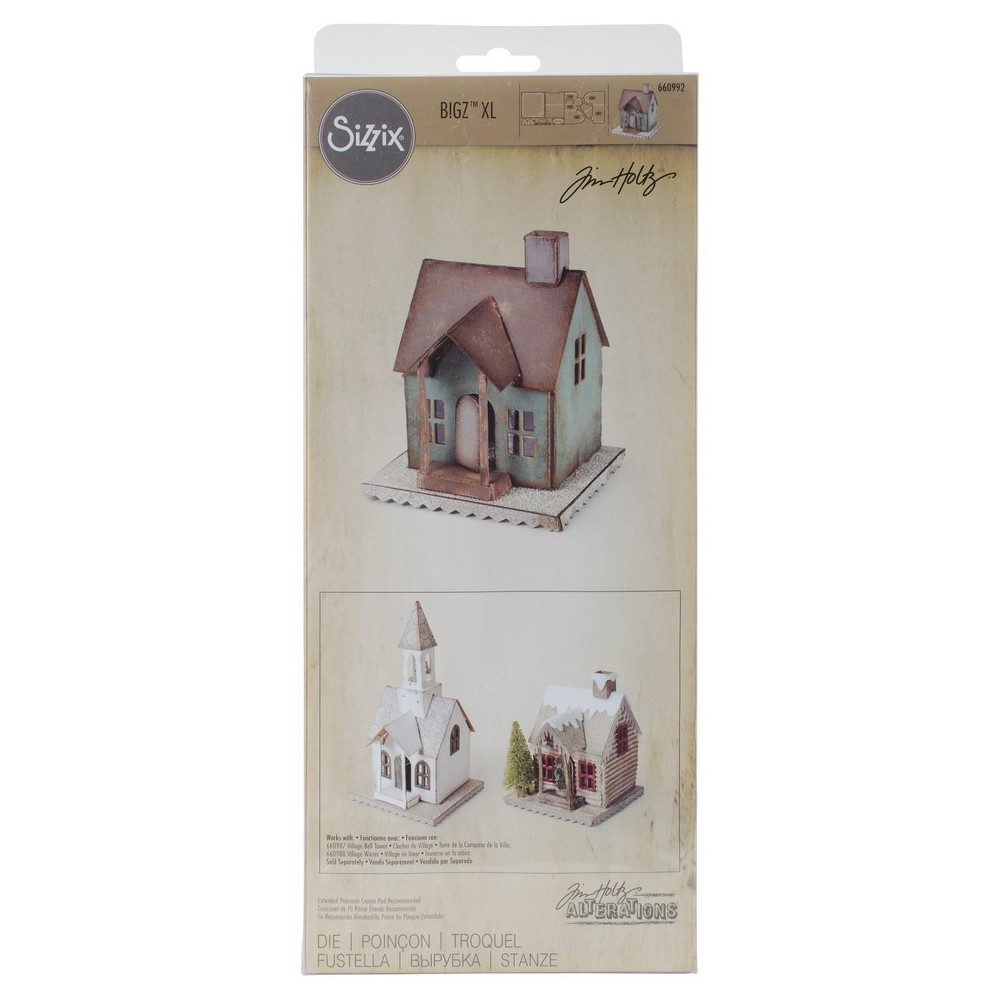 "Image of ""Sizzix Bigz XL Die By Tim Holtz Vintage Village-Brown 6""""x13.75"""""""