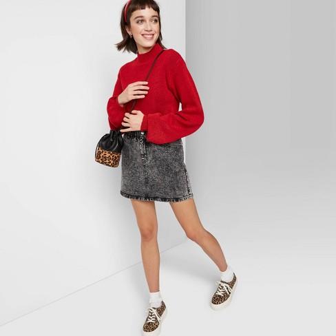 Women's Long Sleeve Mock Turtleneck Sweater - Wild Fable™ Red - image 1 of 3