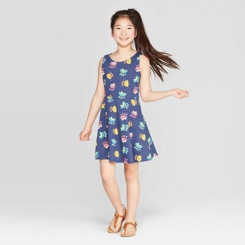 Girls' Rainbow Print Tank Knit Dress - Cat & Jack™ Navy - image 1 of 3