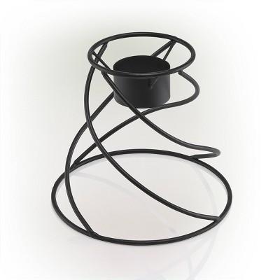 """8"""" x 9"""" Indoor/Outdoor Spiraling Metal Gazing Globe Stand Black - Alpine Corporation"""