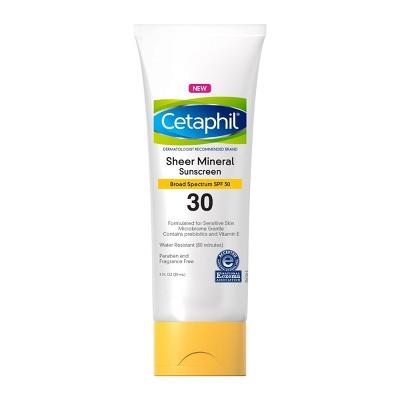 Cetaphil Sheer Mineral Sunscreens - SPF 30 - 3 fl oz