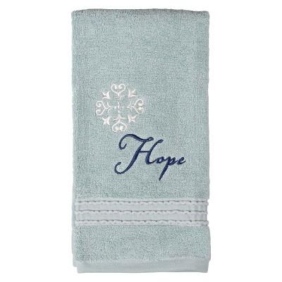 Karma Cotton Embroidered Hand Towel - Aqua - (26X16)- Saturday Knight Ltd