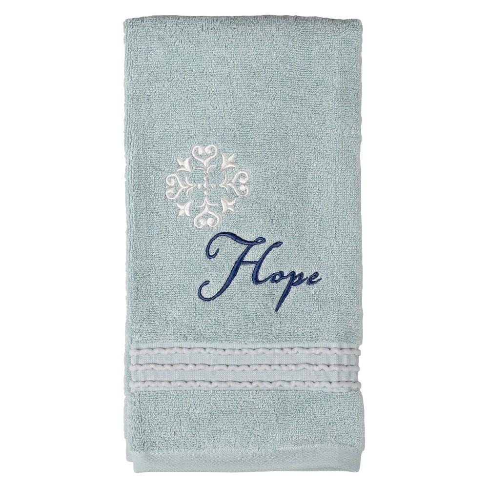 "Image of ""26""""x16"""" Karma Cotton Embroidered Hand Towel Aqua - Saturday Knight Ltd"""