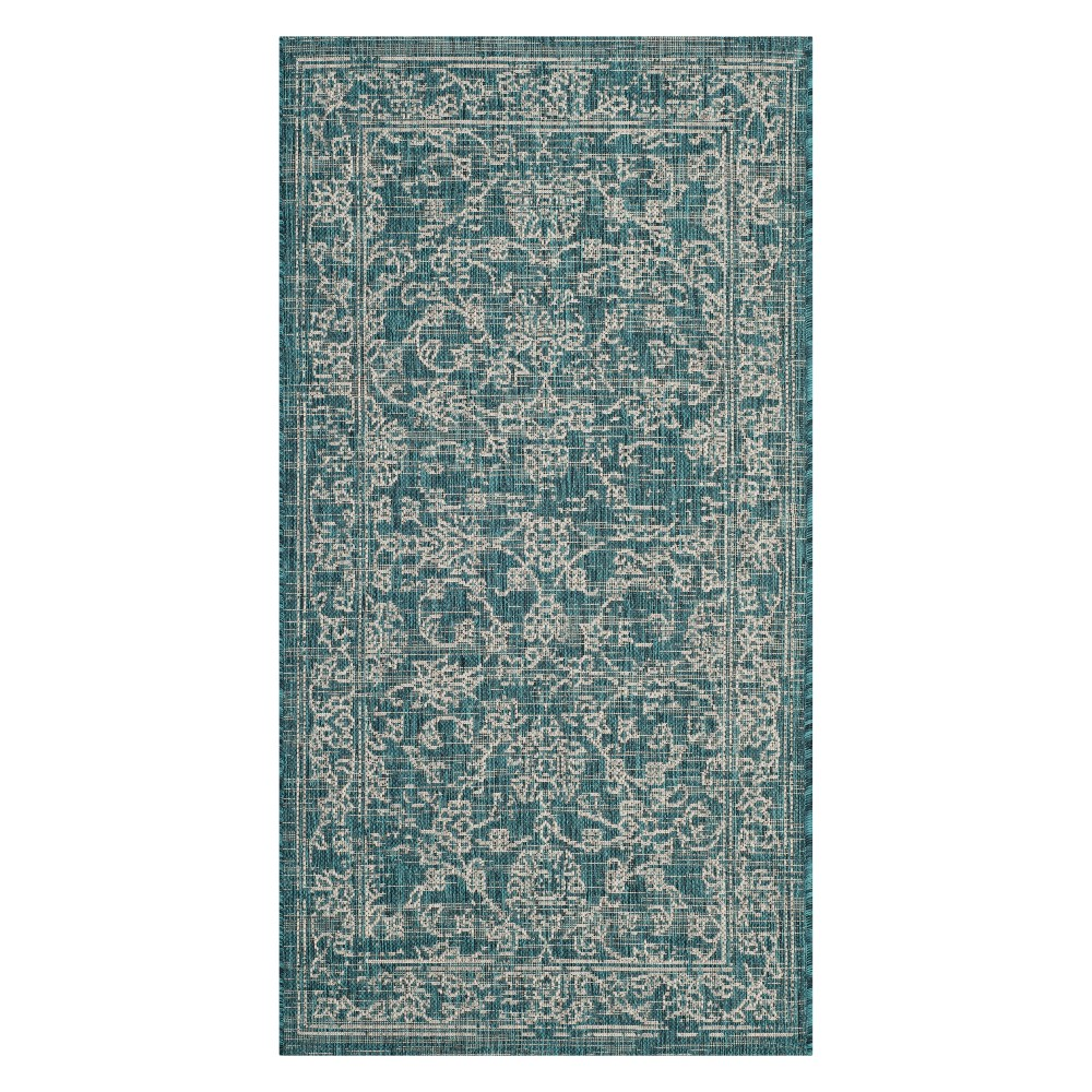 Lily 2'7 x 5' Indoor/Outdoor Rug Turquoise - Safavieh, Blue
