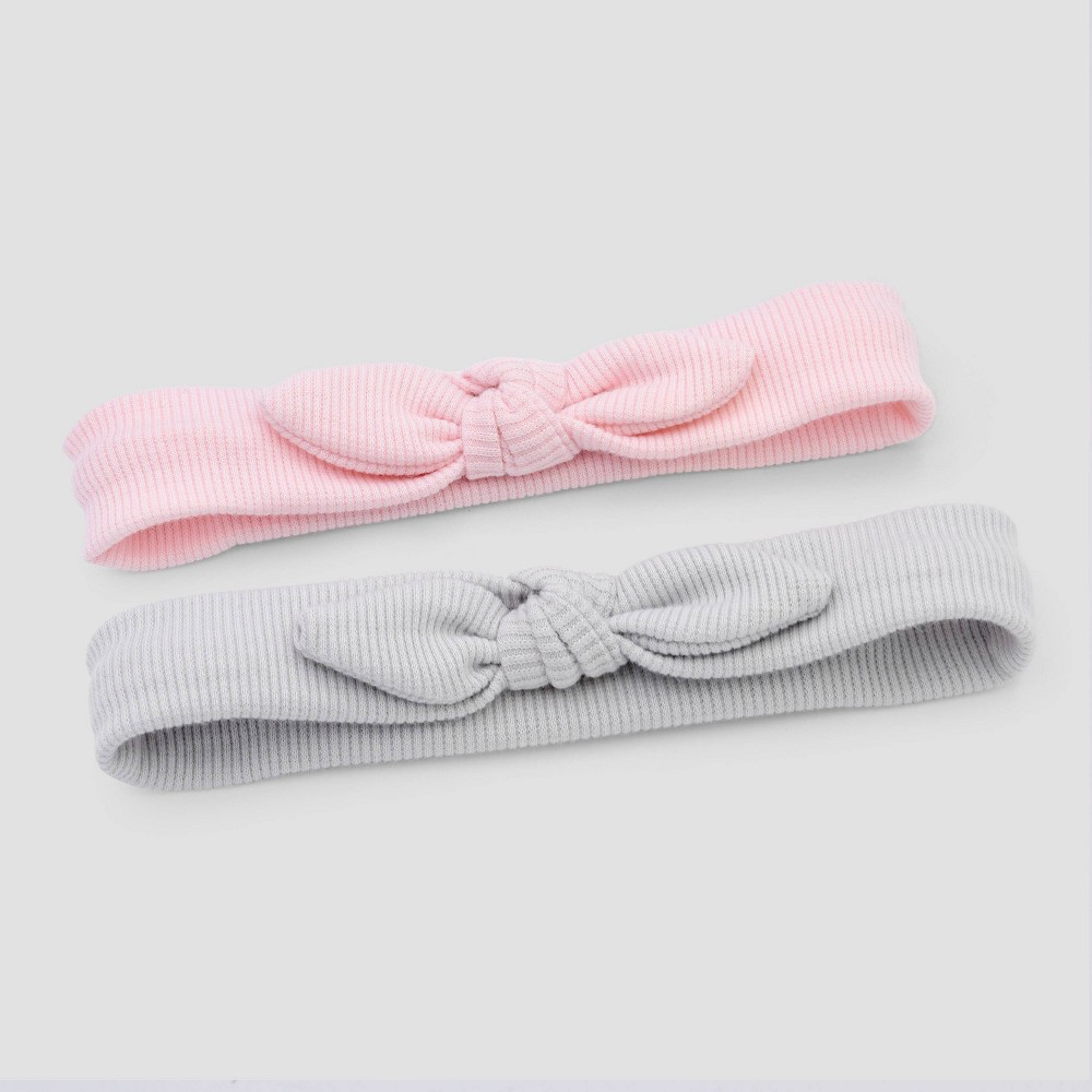 Image of Baby Girls' 2pk Ribbed Headwrap - Cloud Island One Size