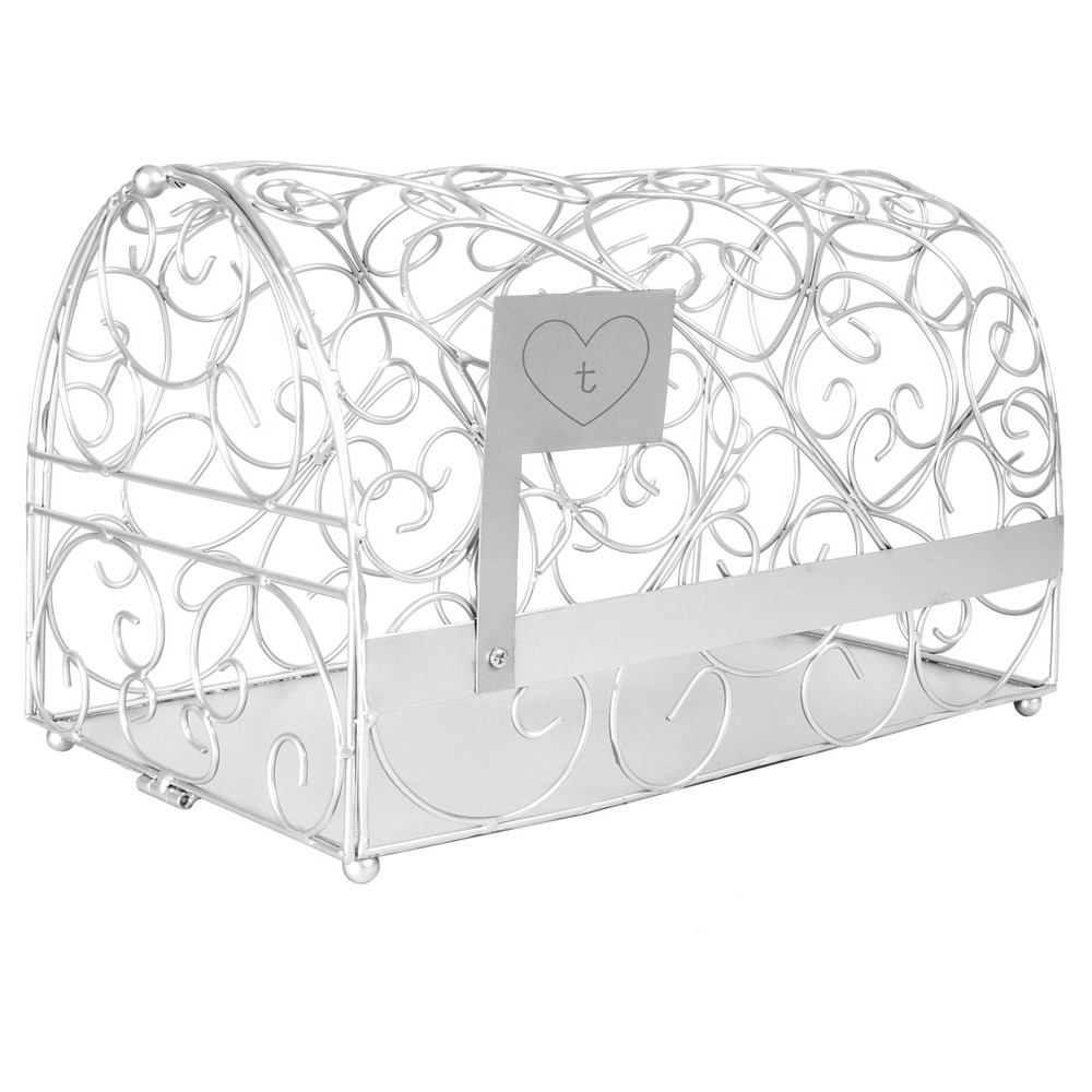 Monogram Heart Silver Gift Card Mailbox Holder - T, Silver-T